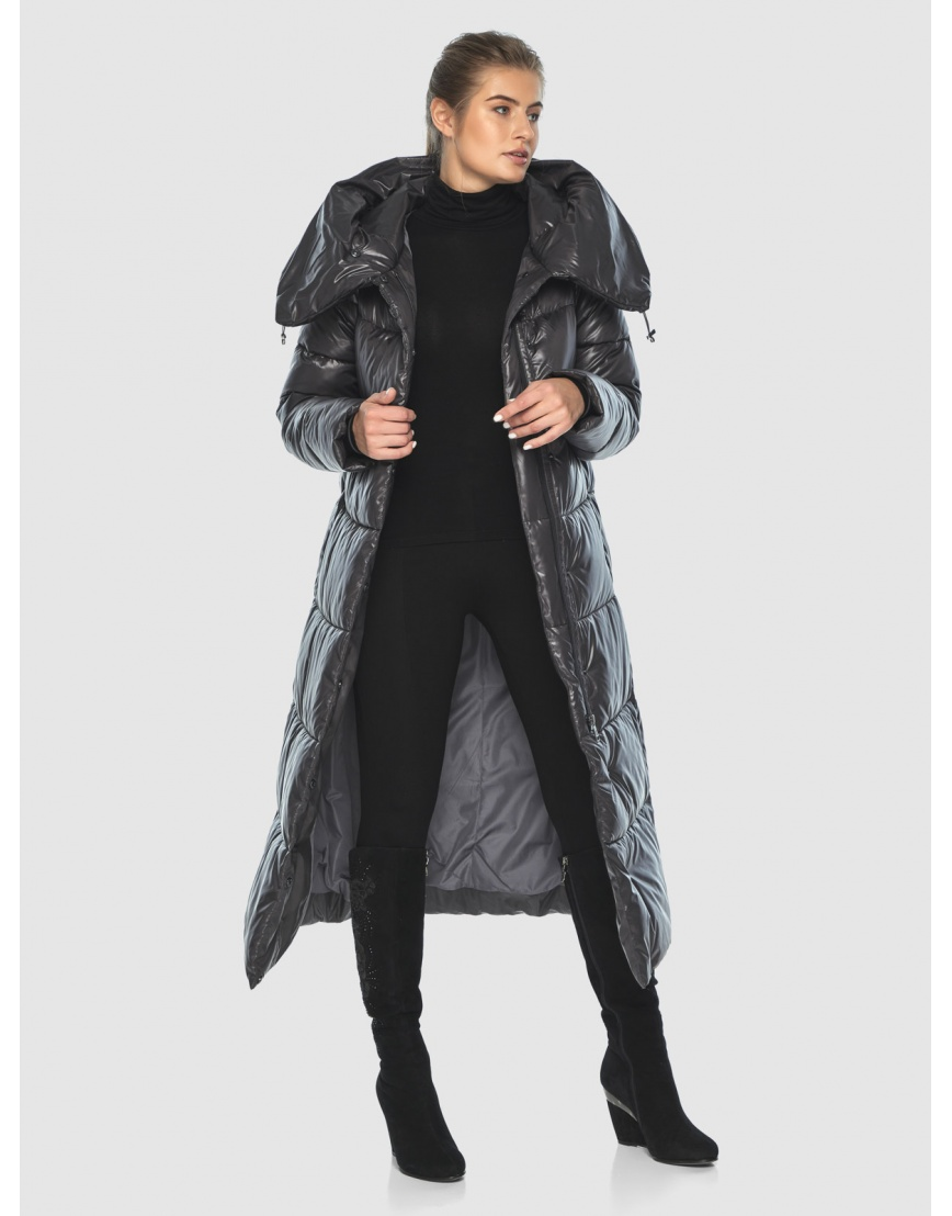 Подростковая зимняя куртка Ajento удлинённая серая 21550 фото 2