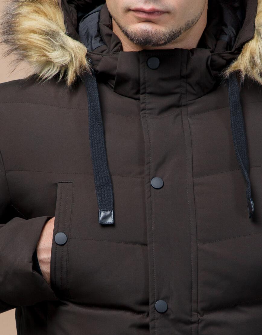 Куртка высококачественная зимняя цвета кофе модель 25370 фото 5
