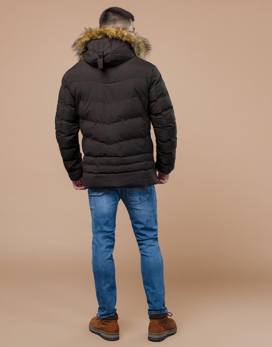 Куртка высококачественная зимняя цвета кофе модель 25370 фото 4