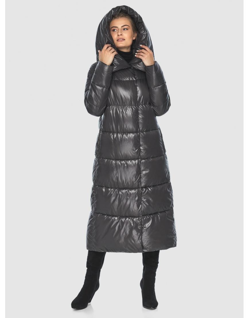 Подростковая зимняя куртка Ajento удлинённая серая 21550 фото 3