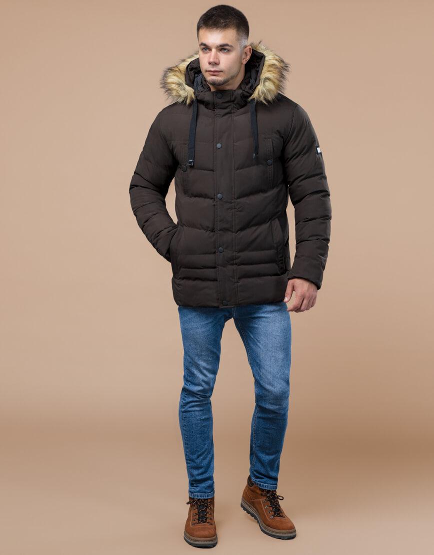 Куртка высококачественная зимняя цвета кофе модель 25370 фото 2