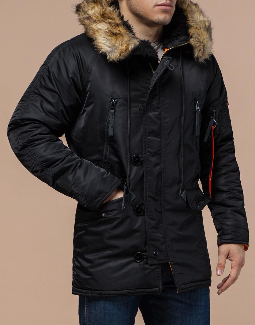 Парка зимняя мужская цвет черный модель 4137 оптом