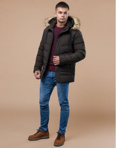 Куртка высококачественная зимняя цвета кофе модель 25370 фото 1