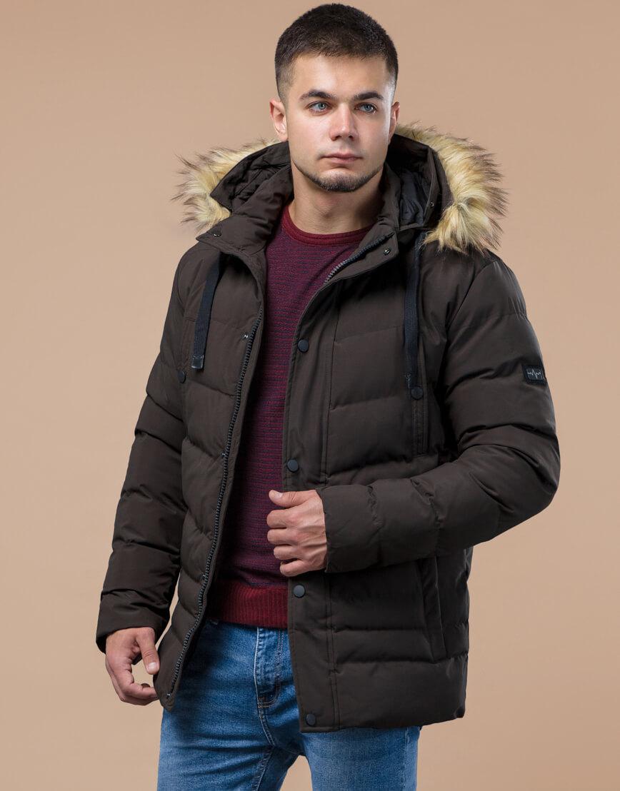 Куртка высококачественная зимняя цвета кофе модель 25370 фото 3