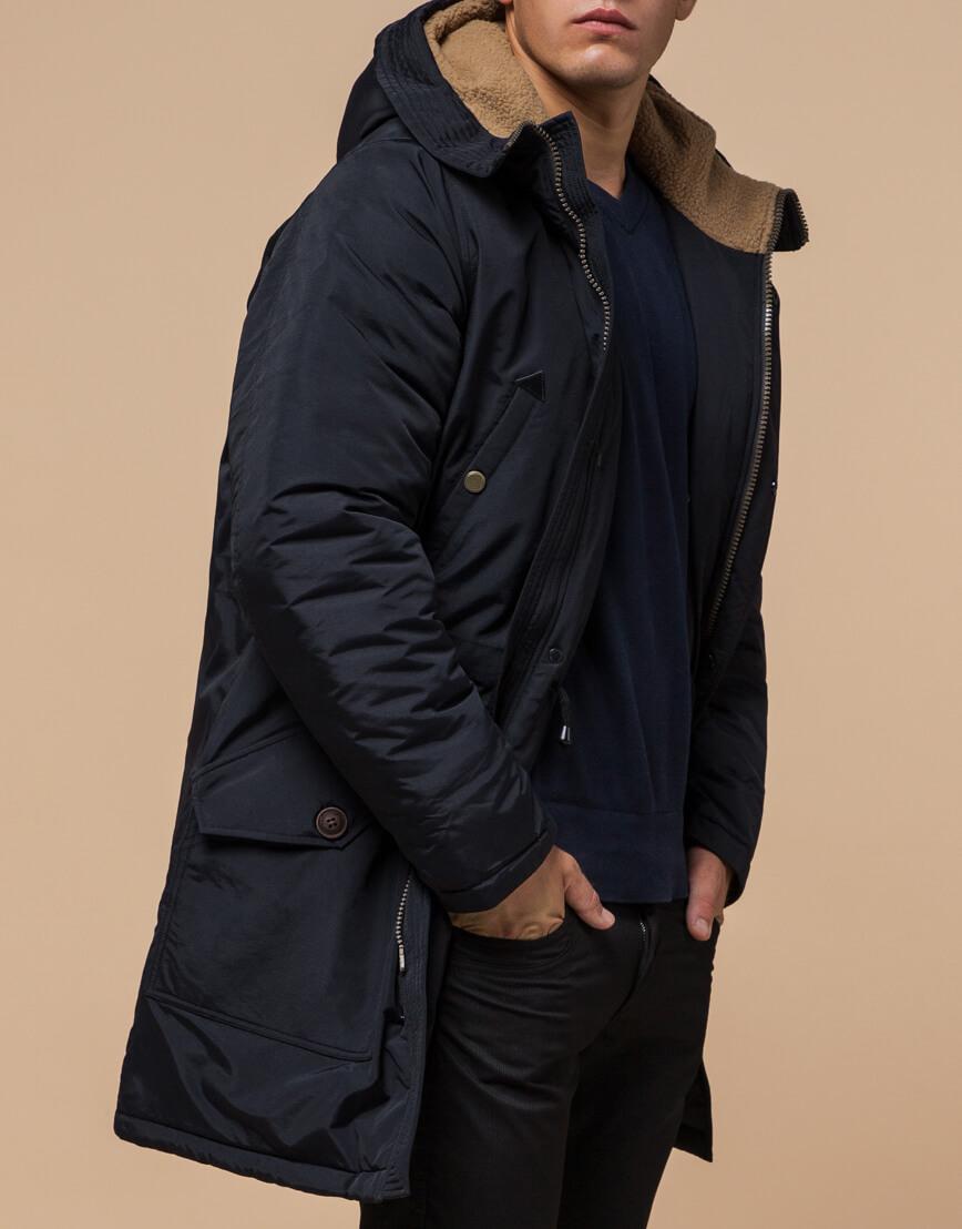 Черно-синяя зимняя парка стильного дизайна модель 90520 фото 2