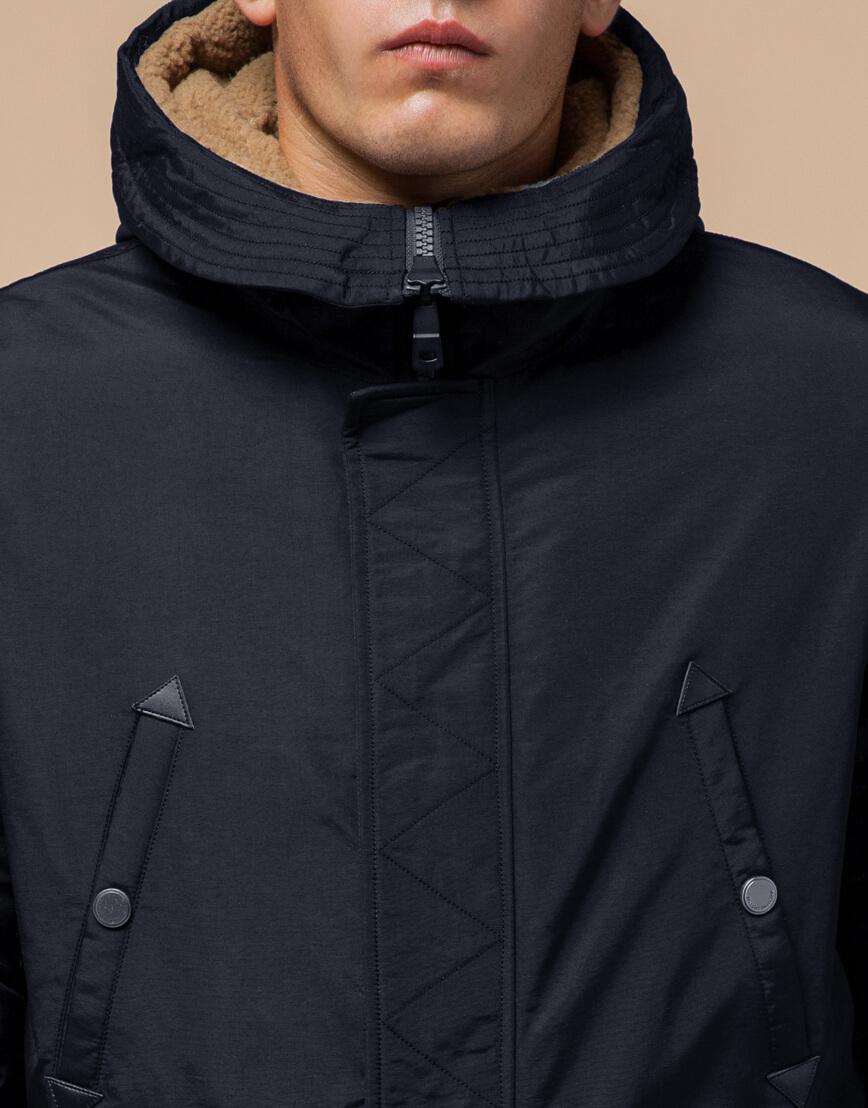 Черно-синяя зимняя парка стильного дизайна модель 90520 фото 4