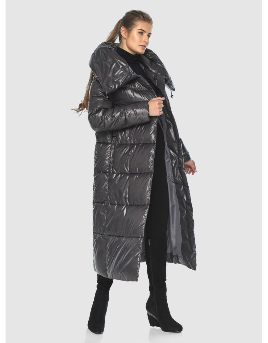 Подростковая зимняя куртка Ajento удлинённая серая 21550 фото 5
