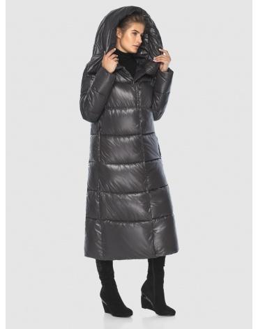 Подростковая зимняя куртка Ajento удлинённая серая 21550 фото 1