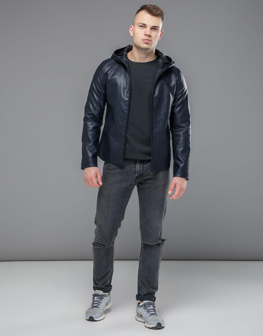 Ветронепродуваемая куртка осенне-весенняя темно-синяя модель 15353 фото 2