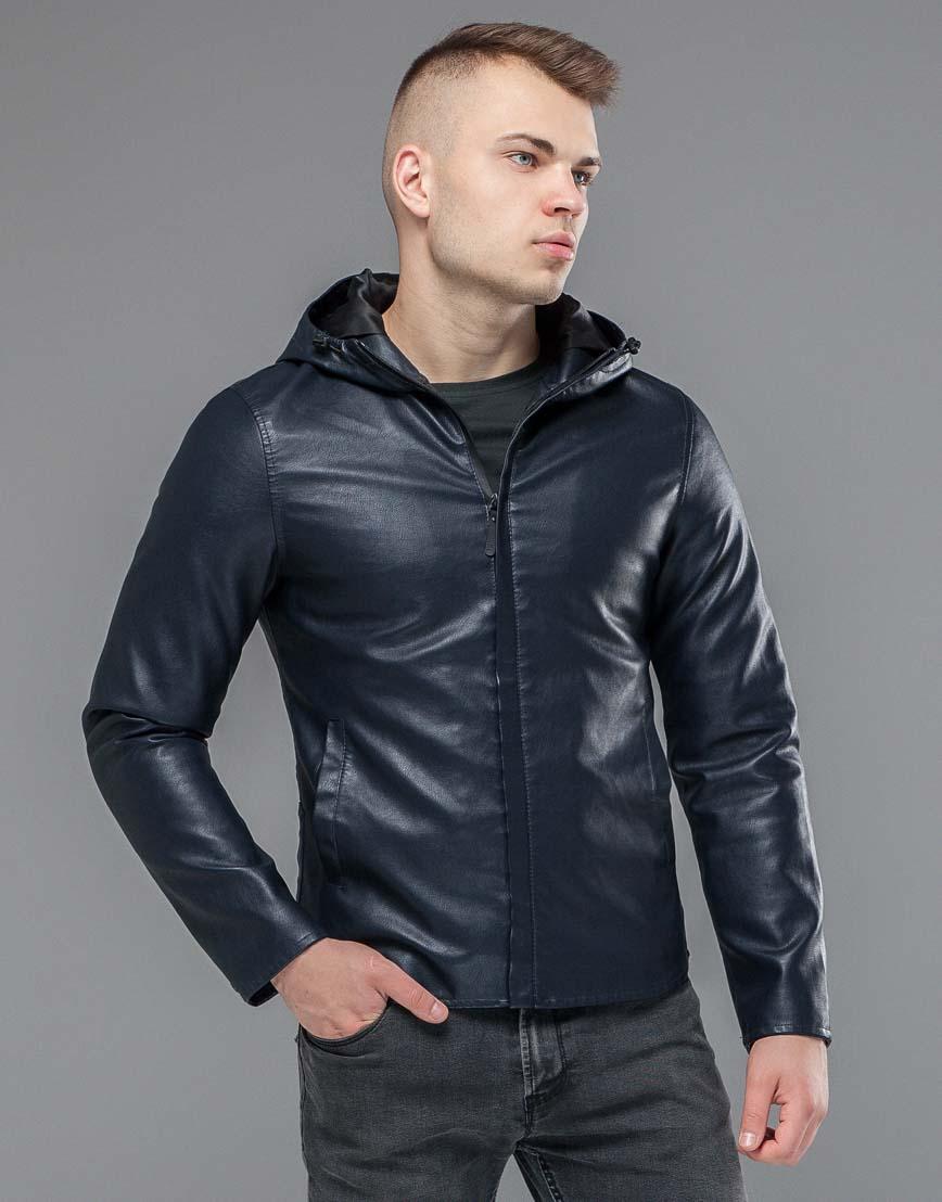 Ветронепродуваемая куртка осенне-весенняя темно-синяя модель 15353 фото 3