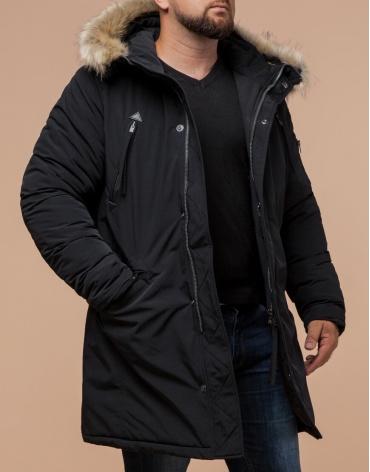 Зимняя черная парка мужская модель 13475 оптом