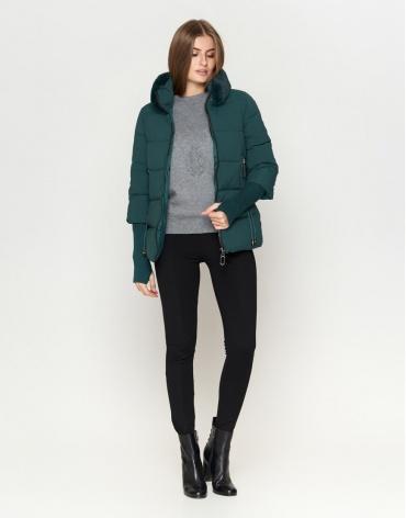 Брендовая куртка зеленая женская модель 1719-1