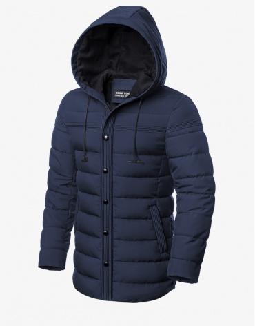 Зимняя оригинальная куртка темно-синяя модель 8806 фото 1