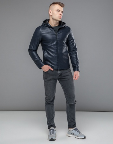 Ветронепродуваемая куртка осенне-весенняя темно-синяя модель 15353