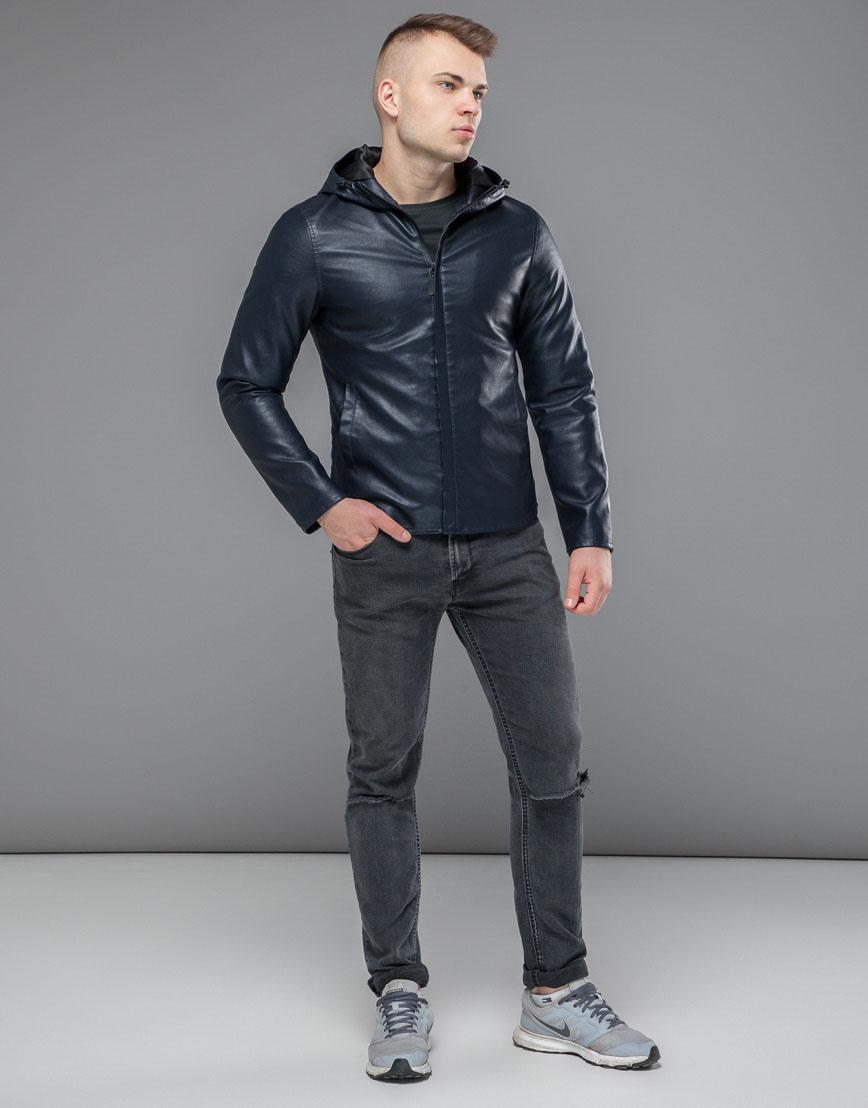 Ветронепродуваемая куртка осенне-весенняя темно-синяя модель 15353 фото 1