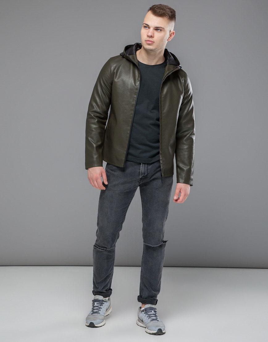 Куртка осенне-весенняя трендовая мужская цвета хаки модель 15353 фото 2