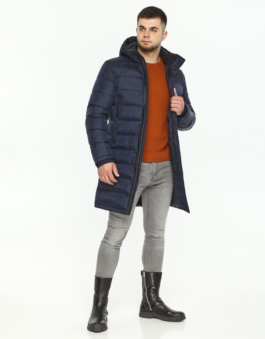 Куртка зимняя темно-синяя мужская модель 35680 оптом фото 2