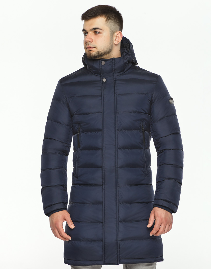 Куртка зимняя темно-синяя мужская модель 35680 оптом фото 3
