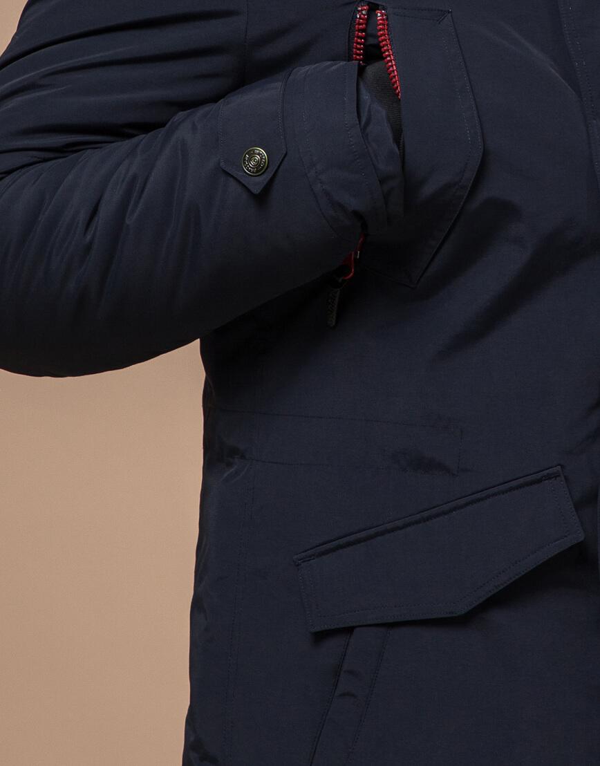 Синяя зимняя парка качественного пошива модель 48560 фото 5