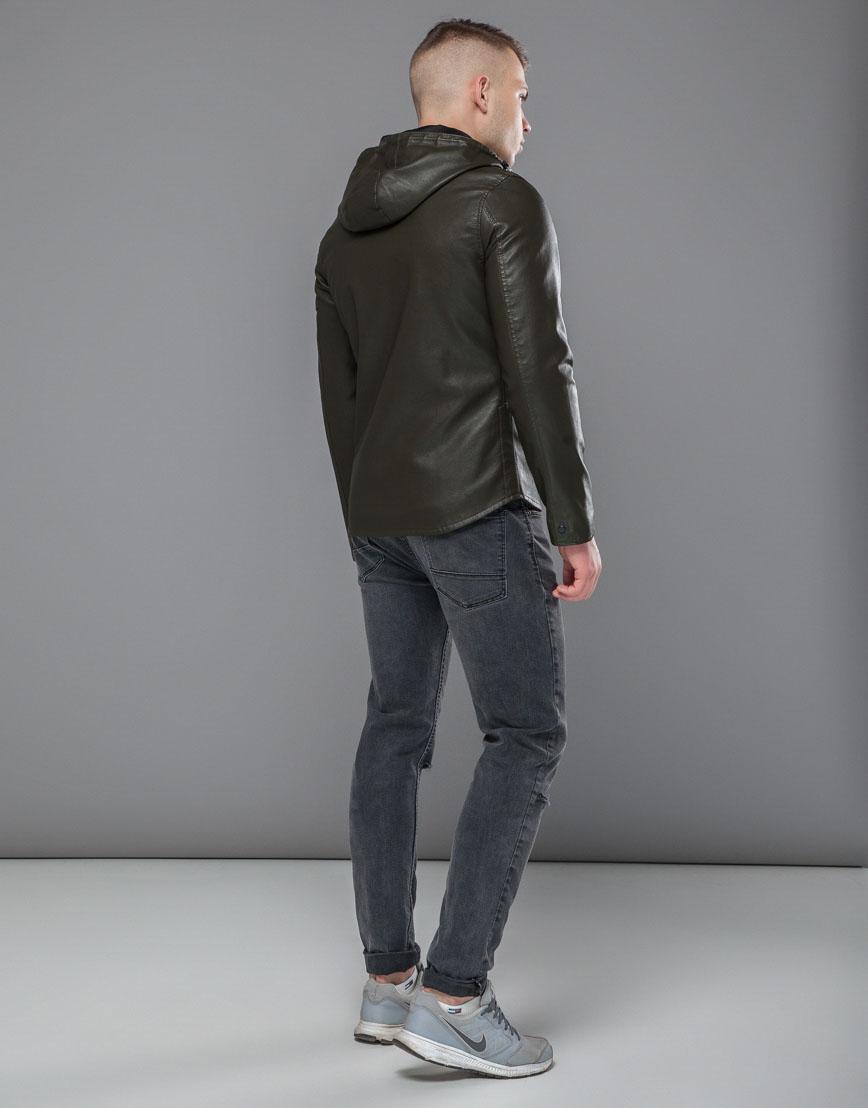 Куртка осенне-весенняя трендовая мужская цвета хаки модель 15353 фото 4