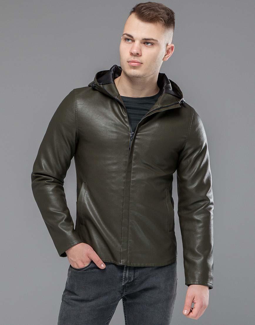 Куртка осенне-весенняя трендовая мужская цвета хаки модель 15353 фото 1
