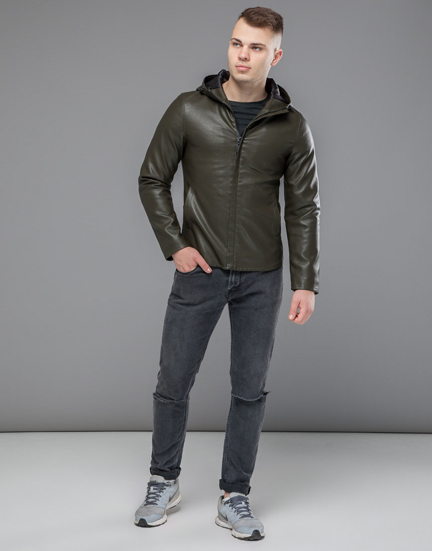 Куртка осенне-весенняя трендовая мужская цвета хаки модель 15353 фото 3
