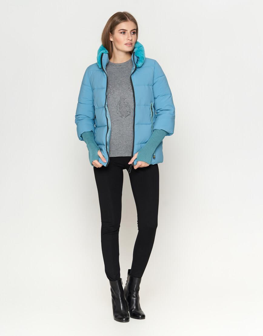 Куртка короткая женская голубая модель 1719-1 фото 2