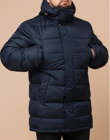 Куртка большого размера стильная темно-синяя модель 13362 фото 1