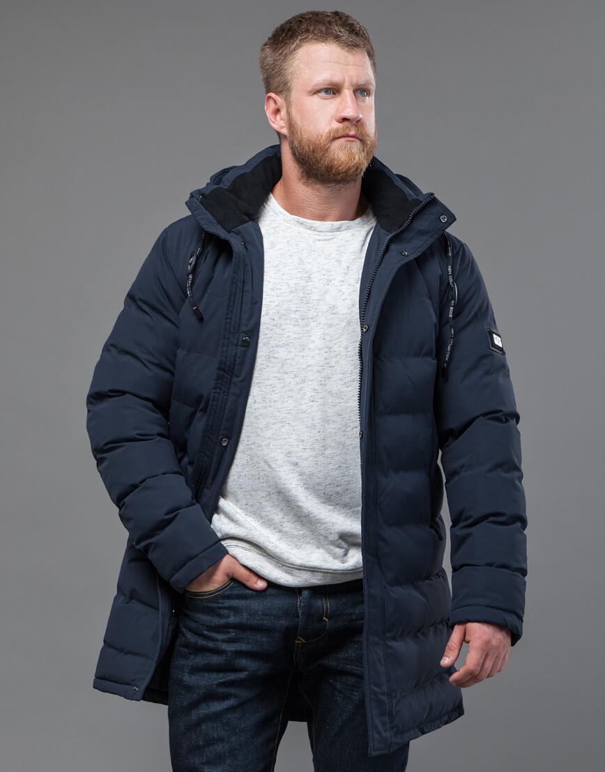 Куртка мужская темно-синяя с капюшоном модель 72461 оптом