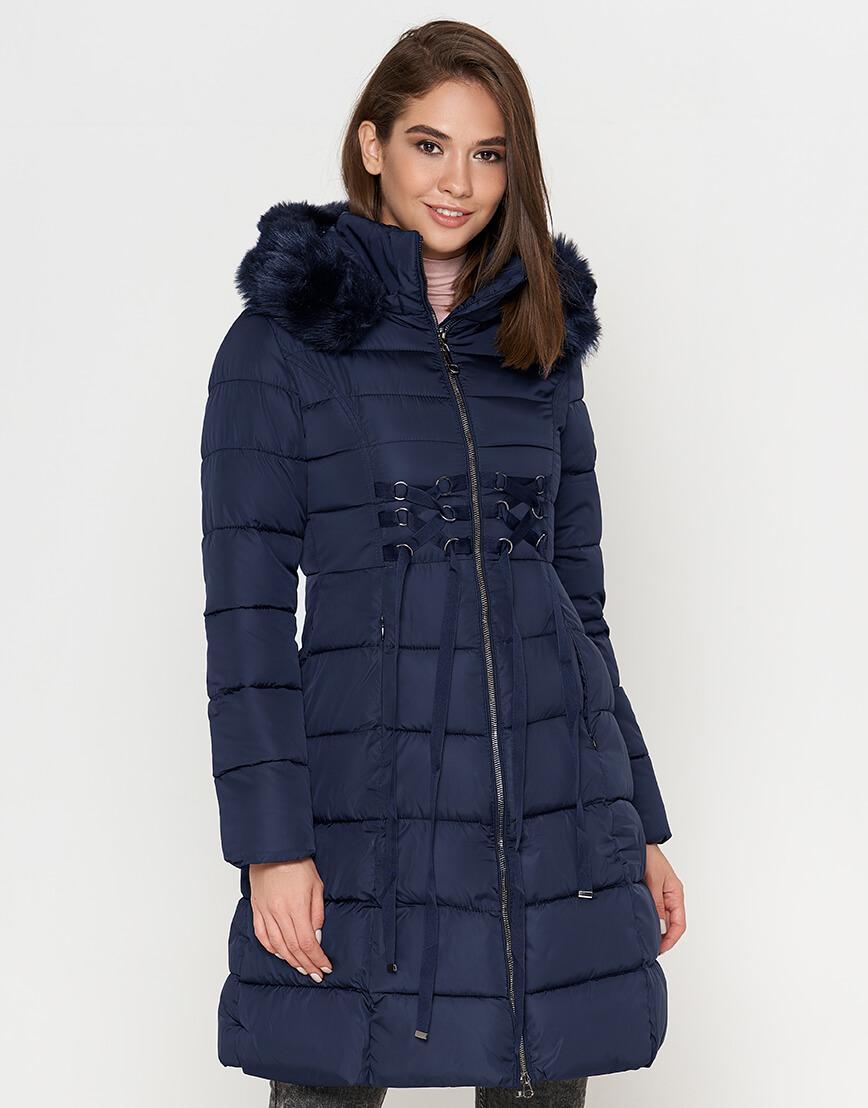 Куртка синего цвета женская с манжетами модель 1816 фото 2