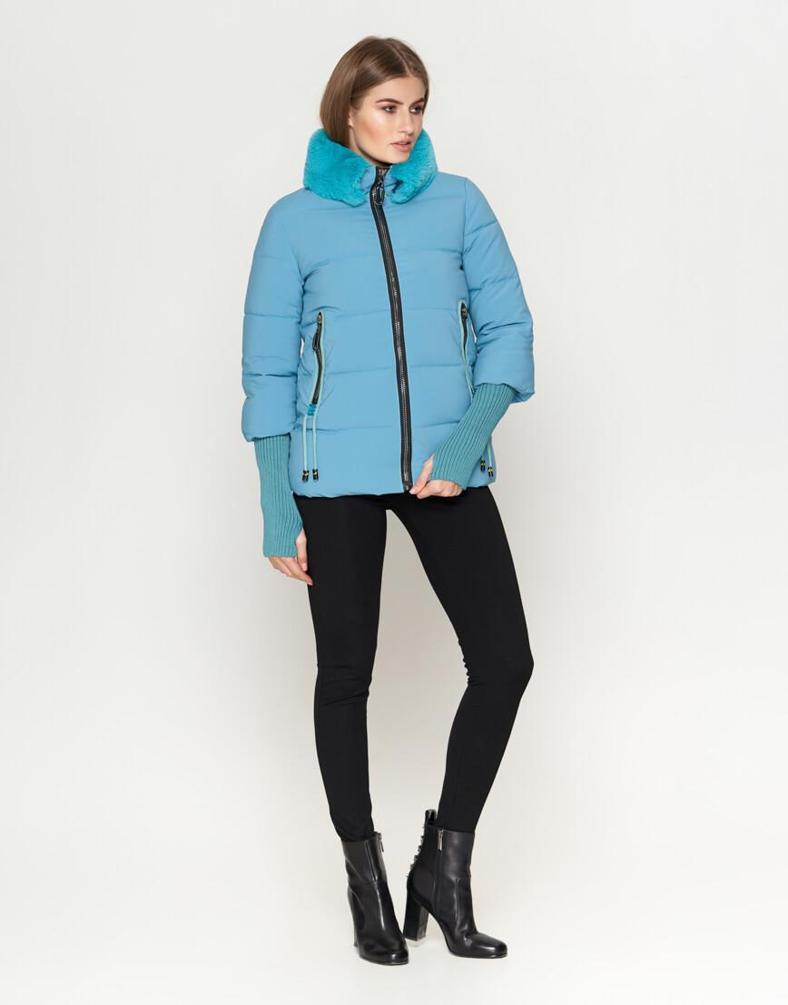 Куртка короткая женская голубая модель 1719-1 фото 3