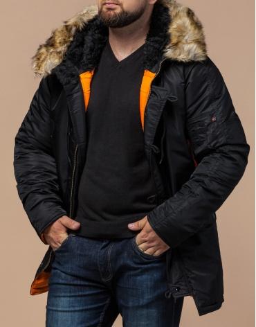 Зимняя парка черная для мужчин модель 4576 оптом