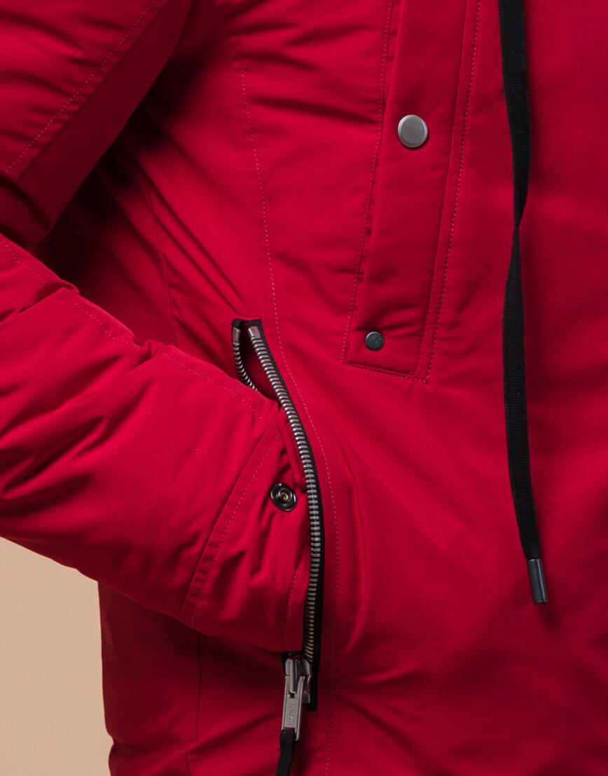Трендовая парка красного цвета модель 15231