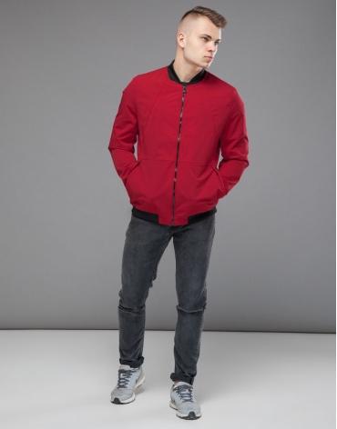 Бомбер мужской осенне-весенний красный модель 43755 оптом