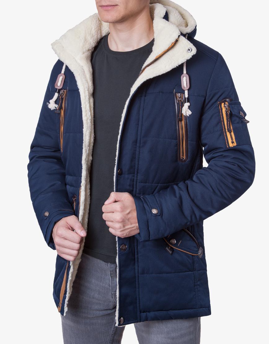 Куртка темно-синяя на меху модель H-12  фото 2