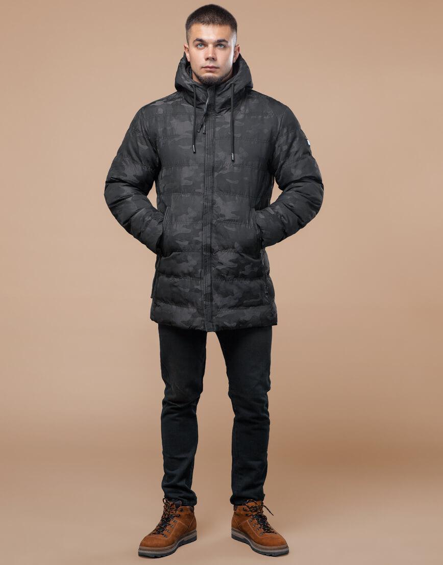 Черная куртка зимняя дизайнерская оригинальная модель 25380 фото 2