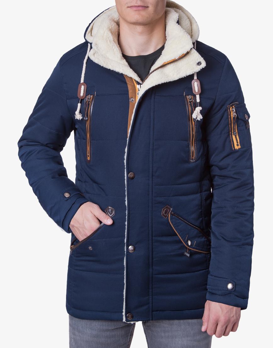 Куртка темно-синяя на меху модель H-12  фото 1