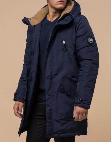Модная зимняя синяя парка качественного пошива модель 96120 фото 1