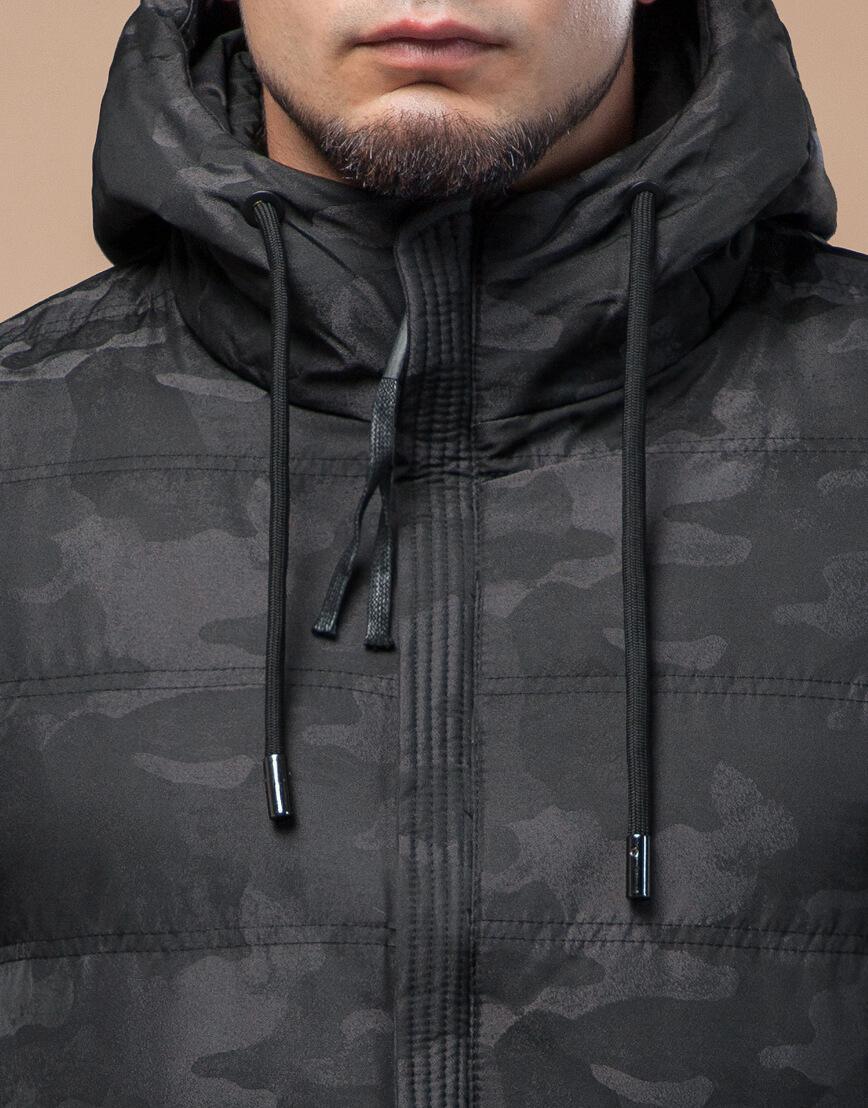 Черная куртка зимняя дизайнерская оригинальная модель 25380 фото 5
