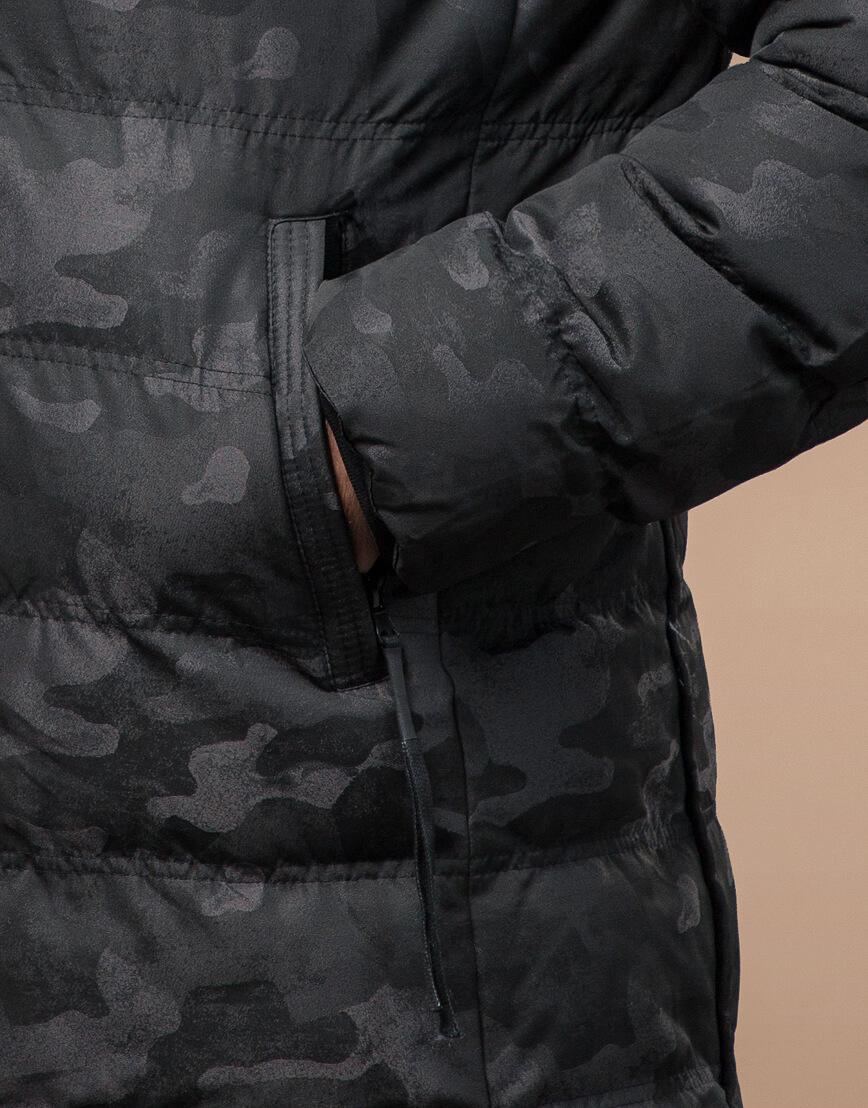 Черная куртка зимняя дизайнерская оригинальная модель 25380 фото 6
