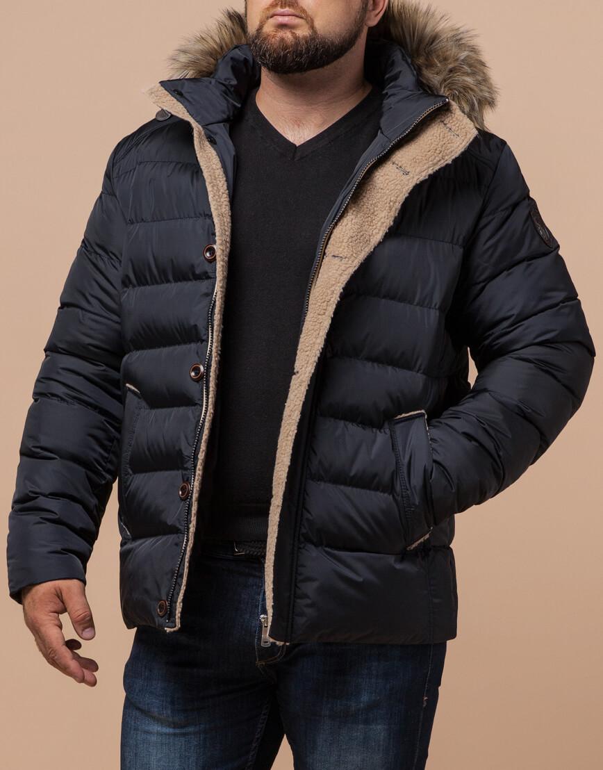 Мужская сине-черная куртка зимняя модель 12149 оптом