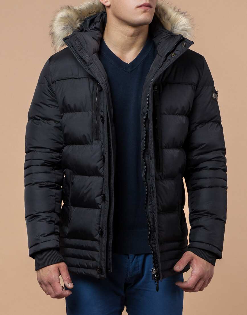 Графитовая куртка с качественной фурнитурой модель 45610