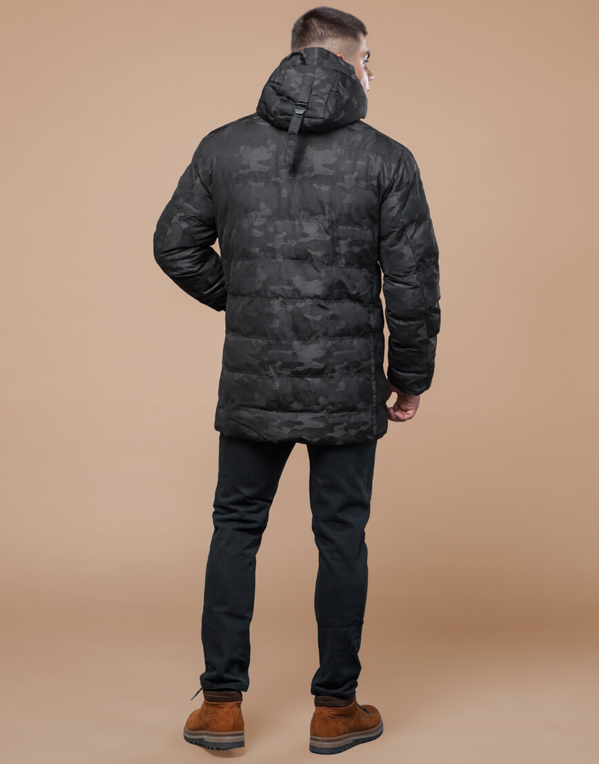 Черная куртка зимняя дизайнерская оригинальная модель 25380 фото 4