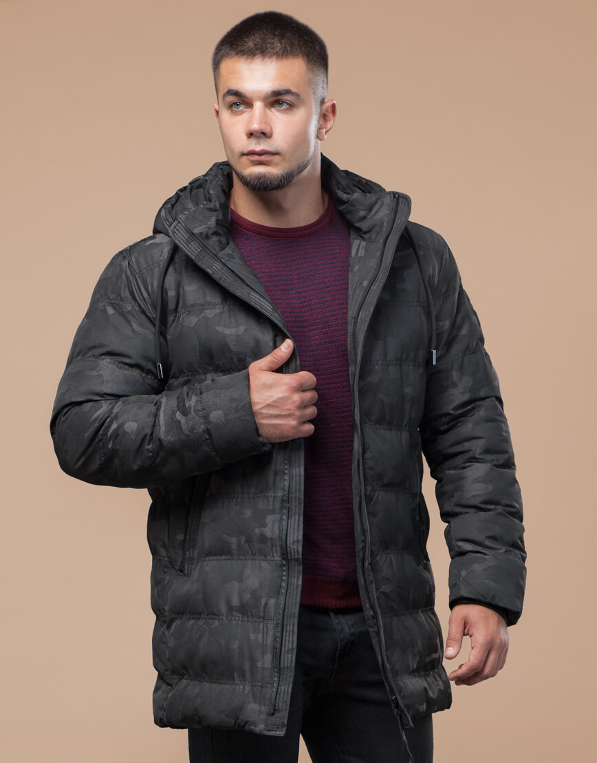 Черная куртка зимняя дизайнерская оригинальная модель 25380 фото 3