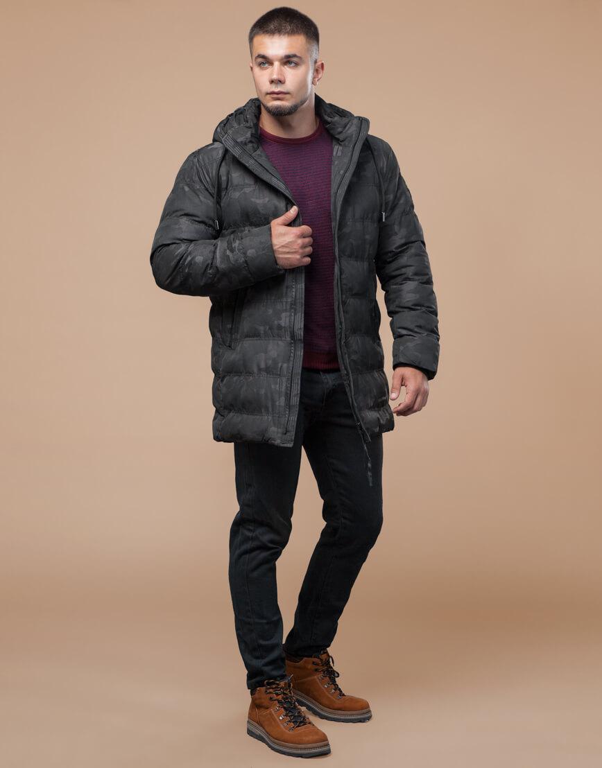 Черная куртка зимняя дизайнерская оригинальная модель 25380 фото 1