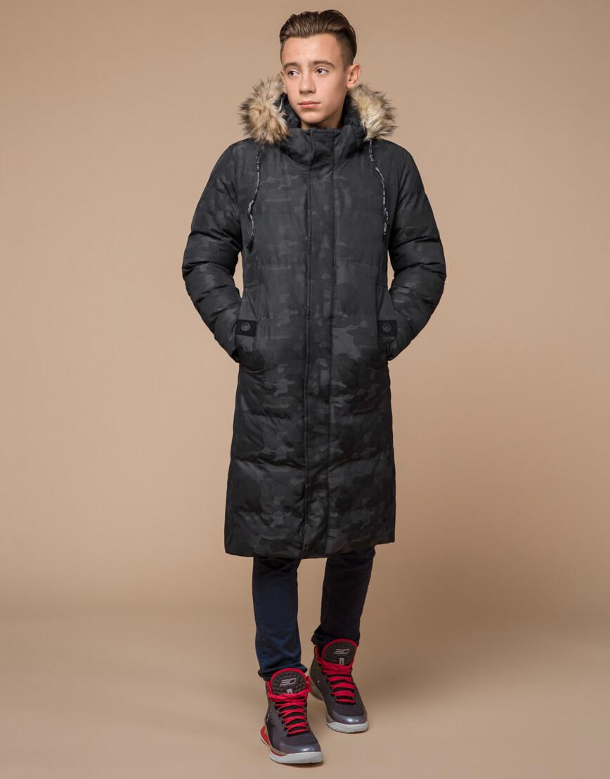 Куртка черная дизайнерская зимняя удлиненная модель 25390 фото 1