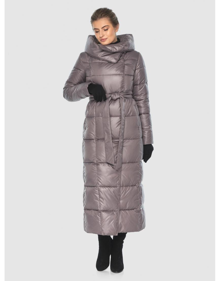 Подростковая пудровая брендовая зимняя куртка Ajento 22356 фото 5