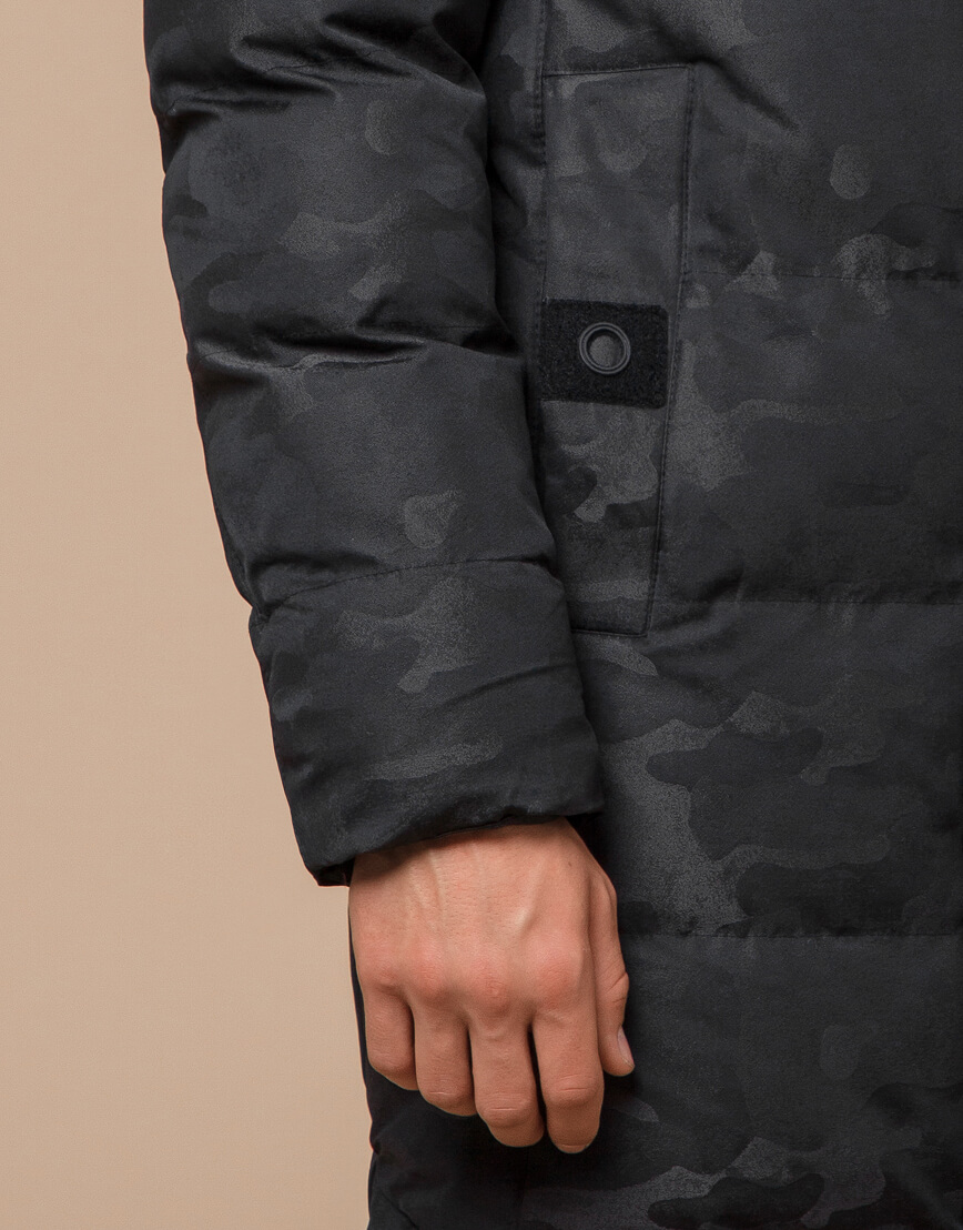 Куртка черная дизайнерская зимняя удлиненная модель 25390 фото 6