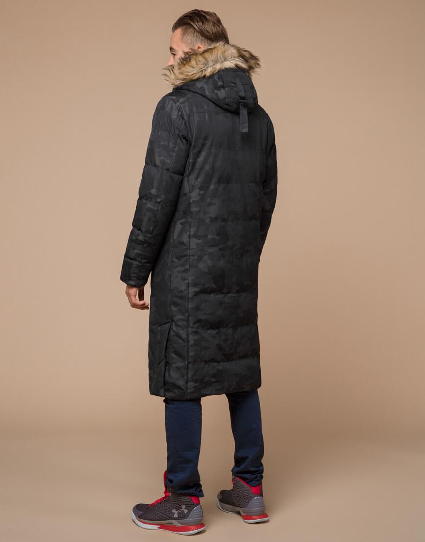 Куртка черная дизайнерская зимняя удлиненная модель 25390 фото 4