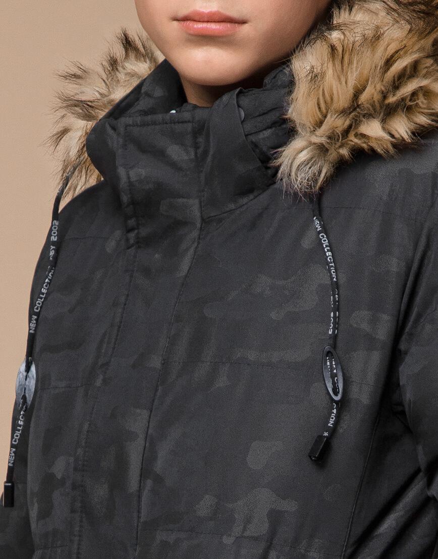 Куртка черная дизайнерская зимняя удлиненная модель 25390 фото 5
